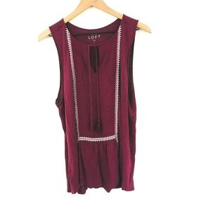 LOFT Embroidered Sleeveless Top w/Tassels Large